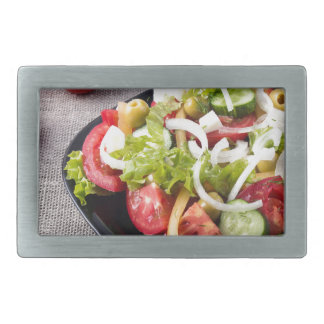 Small bowl of salad made from natural vegetables rectangular belt buckles