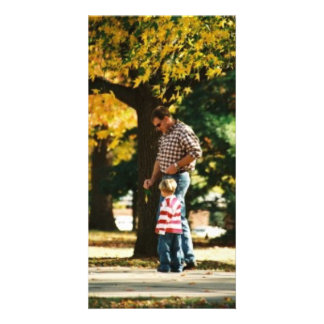 Small Boy going for a walk with Dad Personalized Photo Card