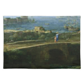 small bridge over looking sea placemat
