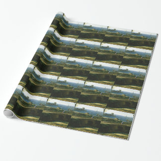 small bridge over looking sea wrapping paper