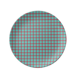 Small Bright Red Lattice Stripes on Light Teal Porcelain Plate