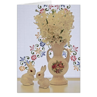 Small bunnies and vase card