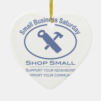 Small Business Saturday - Hardware blue Ceramic Heart Ornament