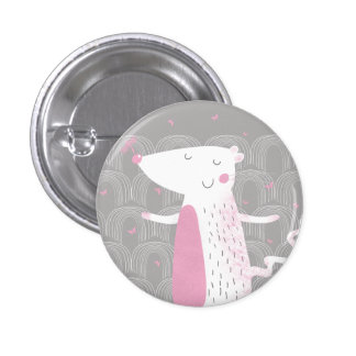 Small Button, Badge, Cute Mouse 1 Inch Round Button