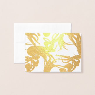 Small Card - Squid illustration in Gold Foil