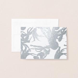 Small Card - Squid illustration in Silver Foil