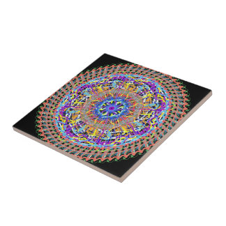 Small ceramic tile with geometric design