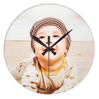 small child large clock