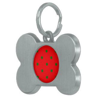 Small Christmas Green Polka dots on Red Pet Tag