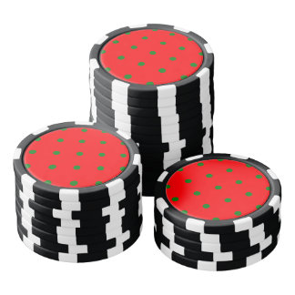 Small Christmas Green Polka dots on Red Poker Chips