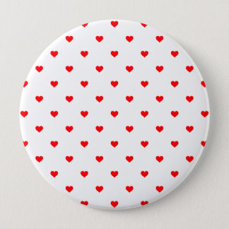 Small Christmas Red Polka Dot Hearts On Snow White 4 Inch Round Button