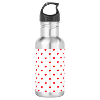 Small Christmas Red Polka Dot Hearts On Snow White 532 Ml Water Bottle