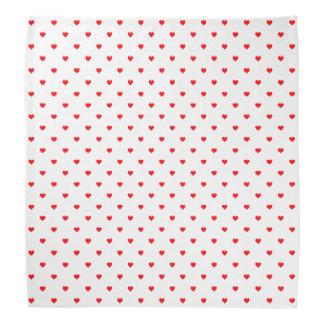 Small Christmas Red Polka Dot Hearts On Snow White Bandana
