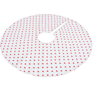 Small Christmas Red Polka Dot Hearts On Snow White Brushed Polyester Tree Skirt