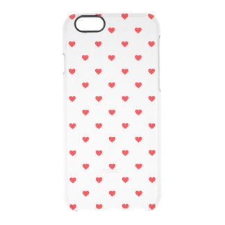 Small Christmas Red Polka Dot Hearts On Snow White Clear iPhone 6/6S Case