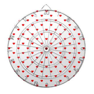 Small Christmas Red Polka Dot Hearts On Snow White Dartboard