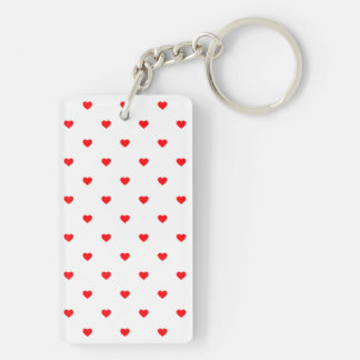 Small Christmas Red Polka Dot Hearts On Snow White Keychain