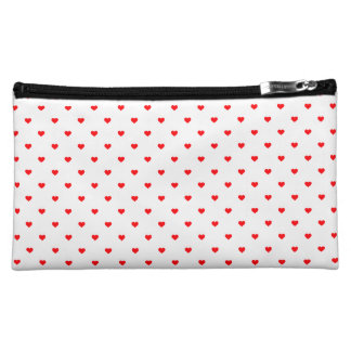 Small Christmas Red Polka Dot Hearts On Snow White Makeup Bag