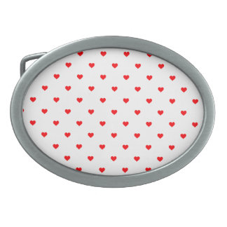 Small Christmas Red Polka Dot Hearts On Snow White Oval Belt Buckle