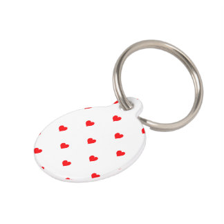Small Christmas Red Polka Dot Hearts On Snow White Pet ID Tag