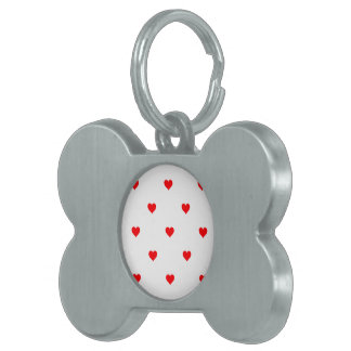 Small Christmas Red Polka Dot Hearts On Snow White Pet Name Tag
