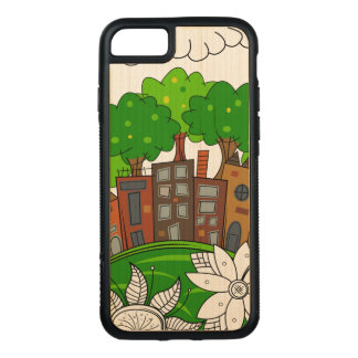 Small City Illustration Carved iPhone 7 Case