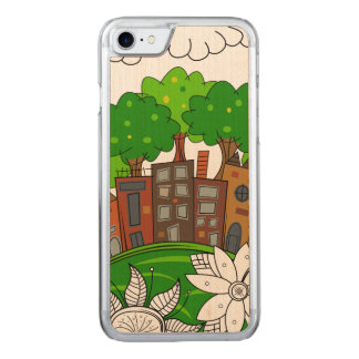 Small City Illustration Carved iPhone 8/7 Case