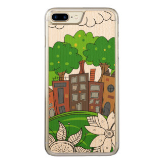 Small City Illustration Carved iPhone 8 Plus/7 Plus Case