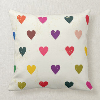 Small Colourful Hearts Pattern Throw Pillow