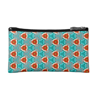 Small Cosmetic Bag in Orange & Teal