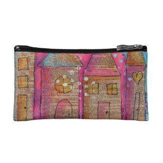 Small Cosmetic Bag, Whimsical City Print Makeup Bag
