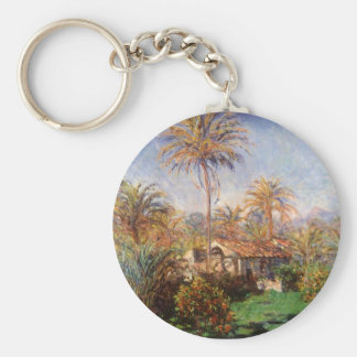 Small Country Farm in Bordighera by Claude Monet Basic Round Button Keychain