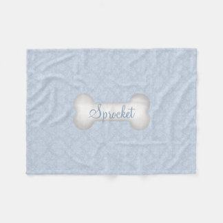 SMALL Damask in Blue with Dog Bone Fleece Blanket