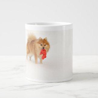 Small dog with Santa's hat and white snow Jumbo Mug