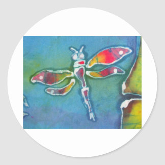small dragonfly round sticker