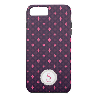 Small Emblem - Personalized Monogram Pink/Purple iPhone 7 Plus Case