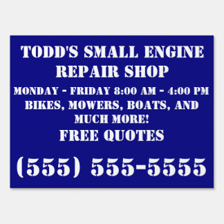Small engine repair business yard signs