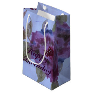 Small Fancy Purple Rose Flowered Gift Bag