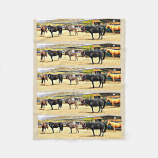 """Small Fleece Blanket """"Four Horses and A Donkey"""""""