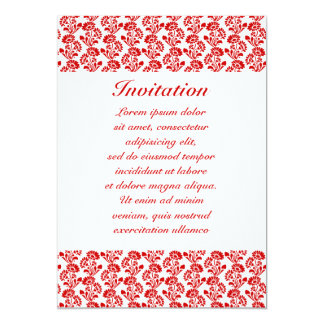 "Small Flower Pattern Red + Custom Color 5"" X 7"" Invitation Card"