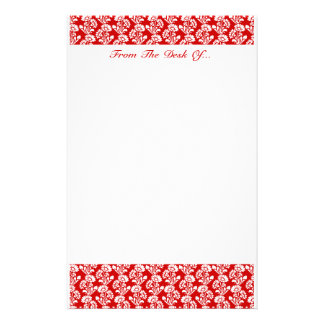 Small Flower Pattern Red + Custom Color Customized Stationery