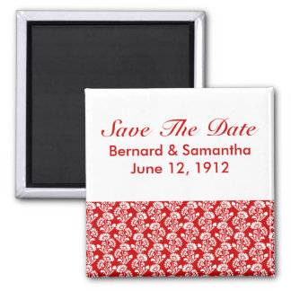 Small Flower Pattern Red + Custom Color Square Magnet