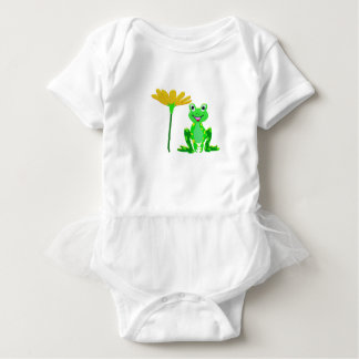 small frog and yellow flower baby bodysuit