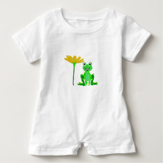 small frog and yellow flower baby romper