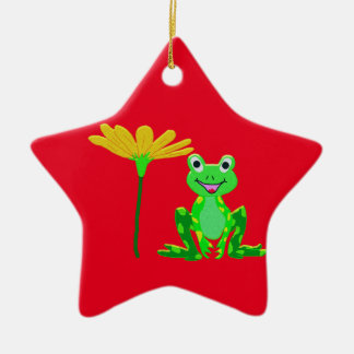 small frog and yellow flower ceramic ornament