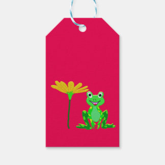small frog and yellow flower gift tags
