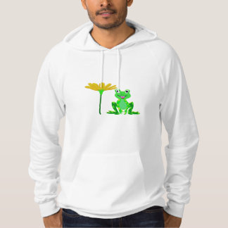 small frog and yellow flower hoodie