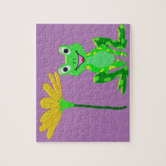 small frog and yellow flower jigsaw puzzle