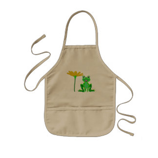 small frog and yellow flower kids apron
