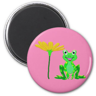 small frog and yellow flower magnet
